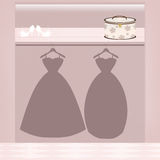 Wedding dress fitting Stock Images