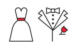 Wedding. Dress and groom's suit, outline icons Royalty Free Stock Photography