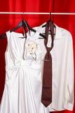Wedding dress and groom shirt Stock Photo