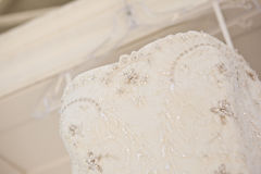 Wedding dress. Hanging in front of church Royalty Free Stock Image