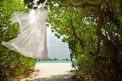 Wedding dress hanging Royalty Free Stock Photos