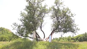 Wedding dress hanging on the decorated tree. Wedding dress hanging on tree with decor, a mirror and a table. Wedding decor in a rural area in nature stock video
