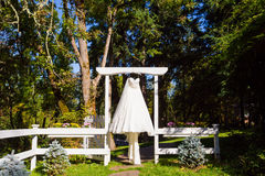 Wedding Dress Hanging Up Royalty Free Stock Images