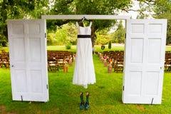 Wedding Dress Hanging Up Stock Photo