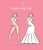 Wedding dress of the hourglass body shape. Bride's white dress vector illustration. Hand-drawn sketches of fashion girls in a wedding dress and a swimsuit Royalty Free Stock Photo