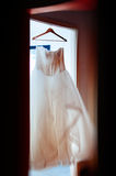 Wedding dress in house readdy for the big d day Royalty Free Stock Photos