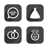 Wedding dress icon. Bride and groom rings symbol Stock Photo