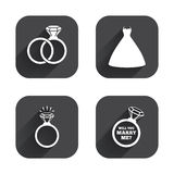 Wedding dress icon. Bride and groom rings symbol. Wedding or engagement day ring shine with diamond sign. Will you marry me? Square flat buttons with long Royalty Free Stock Photography