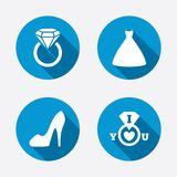 Wedding dress icon. Women's shoe symbol Stock Photos