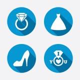 Wedding dress icon. Women's shoe symbol Stock Photos