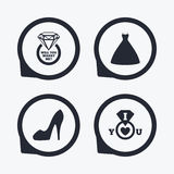 Wedding dress icon. Women's shoe symbol. Stock Photography