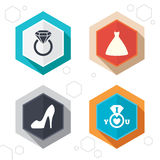 Wedding dress icon. Women's shoe symbol Royalty Free Stock Photos