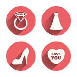 Wedding dress icon. Women's shoe symbol Royalty Free Stock Images