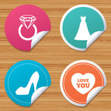 Wedding dress icon. Women`s shoe symbol. Round stickers or website banners. Wedding dress icon. Women`s shoe and love heart symbols. Wedding or engagement day Stock Images
