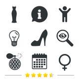 Wedding dress icon. Women shoe sign. Perfume. Royalty Free Stock Images
