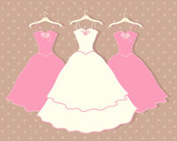 Wedding dress. An illustration of a wedding dress on a hanger with two pink bridesmaid dresses behind on a brown spotty background vector illustration