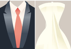 Wedding Dress. Illustrations of bride and groom wedding dresses Royalty Free Stock Photography