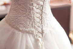 Wedding dress with lacing Stock Photo