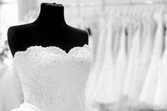 Wedding dress on mannequin Royalty Free Stock Photo