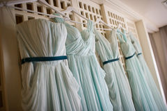 Wedding dress. Many bridesmaids wedding on windows Royalty Free Stock Photos
