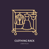 Wedding dress, men suit, kids clothes on hanger icon, clothing rack line logo. Flat sign for apparel collection Stock Images