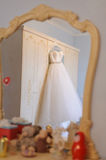 Wedding Dress in Mirror Royalty Free Stock Photos