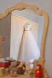 Wedding Dress in Mirror Royalty Free Stock Photos