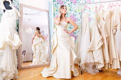 Wedding dress model. Stock Photos