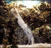 Wedding dress o waterfall Royalty Free Stock Photo