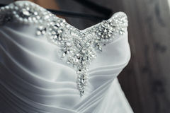 Wedding dress with pearls Royalty Free Stock Photography