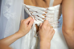 Wedding Dress Preparation Royalty Free Stock Images