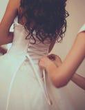 Wedding dress, preparation bride Stock Photos