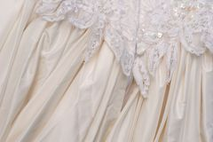 Wedding dress - rear view detail Stock Photography