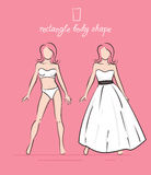 Wedding dress of the rectangle body shape. Bride's white dress vector illustration. Hand-drawn sketches of fashion girls in a wedding dress and a swimsuit Stock Image