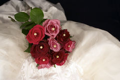 Wedding Dress & Rose Royalty Free Stock Images