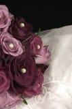 Wedding Dress & roses washed. Roses on a wedding dress Stock Photo