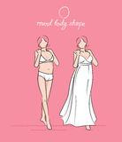 Wedding dress of the round body shape. Bride's white dress vector illustration. Hand-drawn sketches of fashion girls in a wedding dress and a swimsuit Royalty Free Stock Image