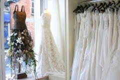 Wedding dress's. Some wedding dress's in a dress shop Stock Photos