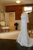 Wedding dress's. A wedding dress's in a dress shop Royalty Free Stock Images