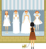 Wedding dress salon. Shop window with wedding dresses on mannequins Stock Photo
