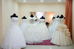 Wedding dress saloon Stock Photos