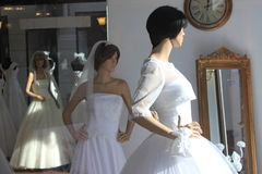 Wedding dress saloon Stock Photo