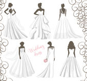 Wedding dress set. Wedding dresses in Different styles. Fashion bride Dress made in modern style Stock Photos