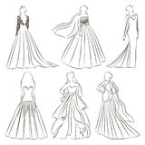 Wedding dress set. Wedding dresses in Different styles. Fashion bride Dress made in modern style Stock Photo