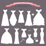 Wedding dress set.Flat design.Bridal shower. The composition of Different styles of wedding dresses made in modern flat vector style. Composition with handbag Royalty Free Stock Photography