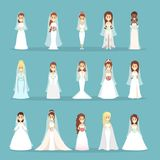 Wedding dress set. Women in different white dresses Stock Images
