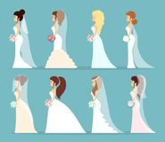 Wedding dress set. Women in different white dresses Royalty Free Stock Photo