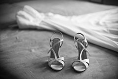 Wedding dress with shoes, BW Royalty Free Stock Photo