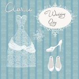 Wedding dress shoes set Stock Image