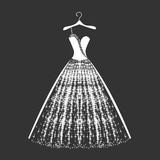 Wedding dress silhouette royalty free stock image